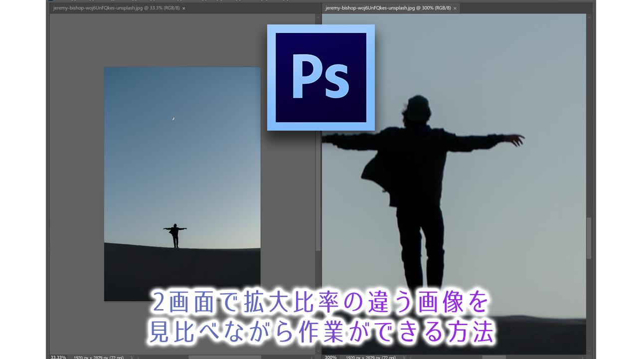 2画面で拡大比率の違う画像を見比べながら作業ができる方法【フォトショップ作業効率アップチュートリアル】